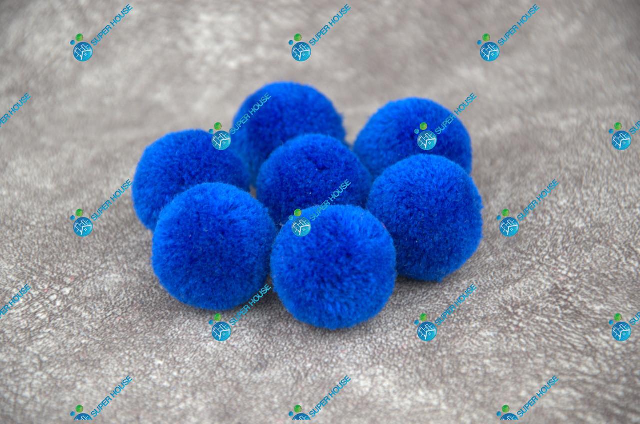 Помпоны, мягкие шарики, бубончики 30мм/синий/электрик 100шт.