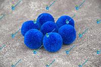 Помпоны, мягкие шарики, бубончики 30мм/синий/электрик 100шт., фото 1