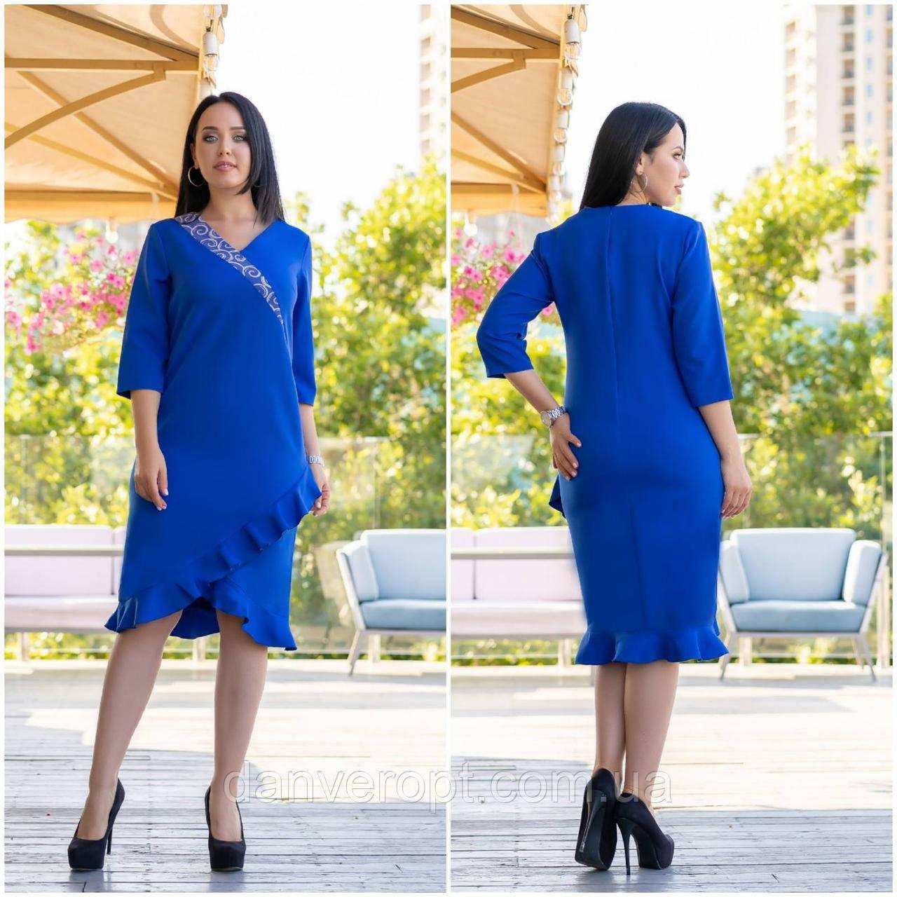 Платье женское стильное с оборками размер 48-54 купить оптом со склада 7км Одесса