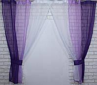 Кухонные шторки, фиолетовый с сиреневым и белым