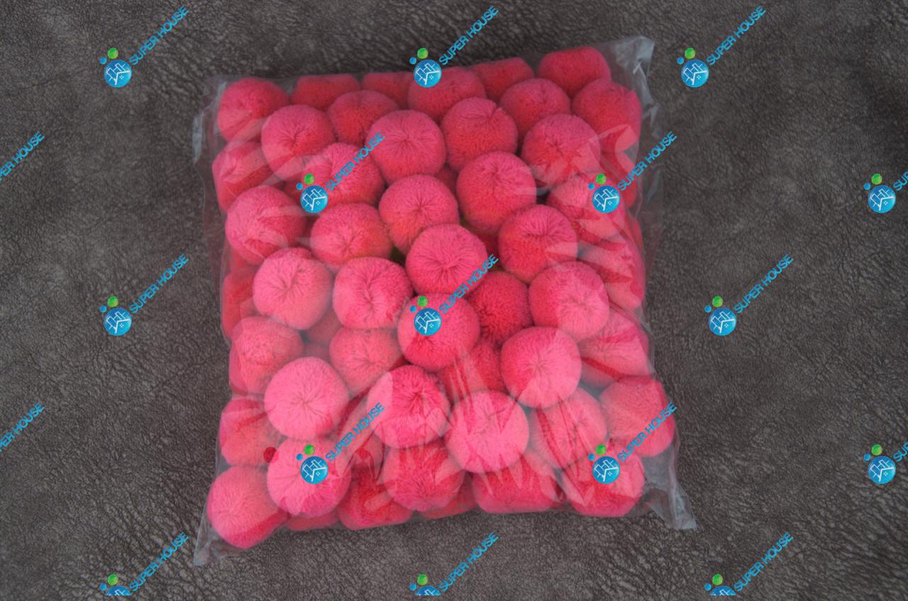 Помпоны, мягкие шарики, бубончики 30мм/Малина 100шт.