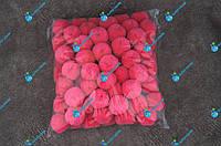 Помпони, м'які кульки, бубончики 30мм/Малина 100шт., фото 1