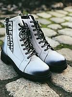 Ботинки Полусапоги зимние из натуральной кожи.Белые.39
