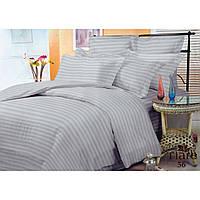 """Полосатый евро комплект постельного белья из серого сатин """"Stripe 56"""""""