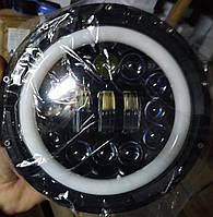 Светодиодная фара 12LED 7дюймов 12-80V 40W ближний-дальний/ ангельские глазки/ линза / УАЗ, Нива
