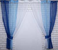 Кухонные шторки, синий с голубым и белым