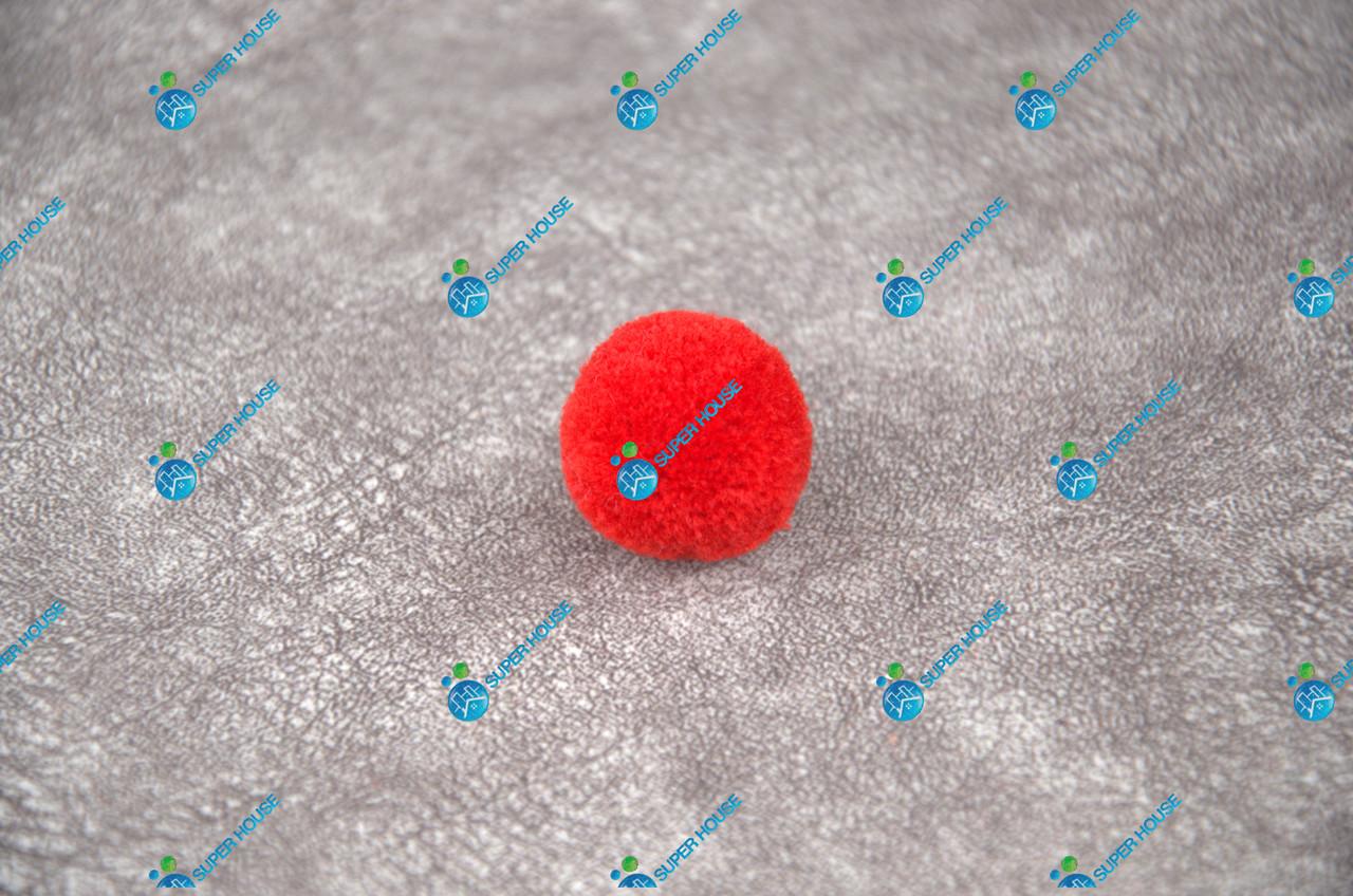 Помпоны, мягкие шарики, бубончики 30мм/ Красный яркий 100шт.