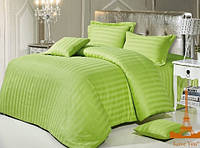 """Красивое двуспальное постельное бельё из сатина в салатовом цвете """"Stripe 69"""""""