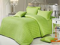 """Зеленый полуторный комплект постельного белья из качественного сатина """"Stripe 69"""""""