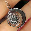 Серебряный кулон Луна и Солнце - Подвеска серебряная Звезды, фото 5