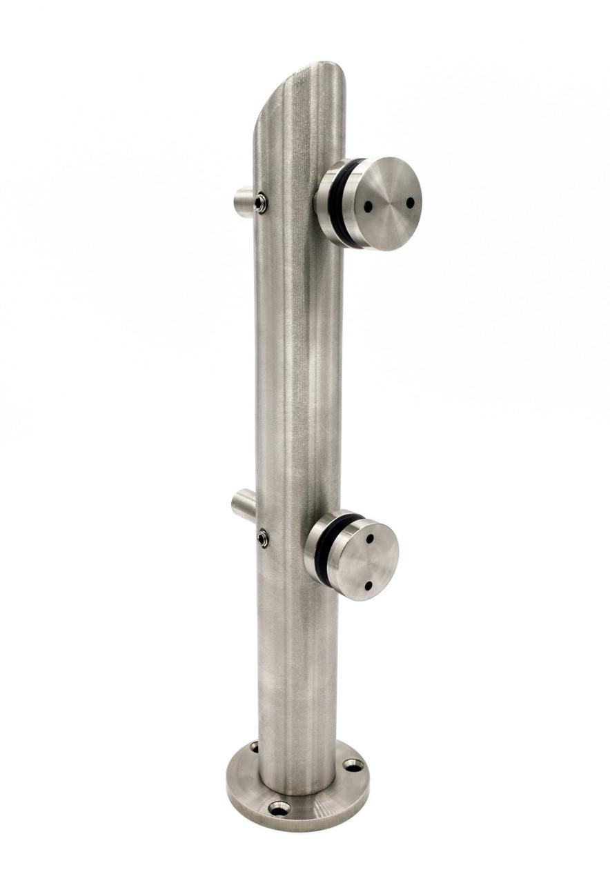 ODF-22-02-01 Стойка для стекла и ограждений с регулировкой коннекторов, H 370 мм, круглая, диаметром 42,4 мм