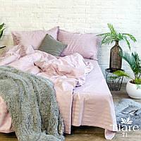 """Пудровый евро комплект постельного белья из полосатого сатина """"Stripe 71"""""""