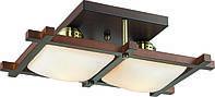 Потолочный светильник Altalusse INL-3092C-02 Antique brass & Walnut Е27 2Х40Вт