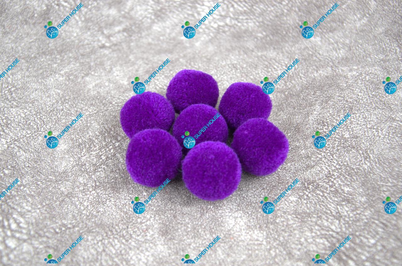 Помпоны, мягкие шарики, бубончики 30мм/ Фиолет 100шт.