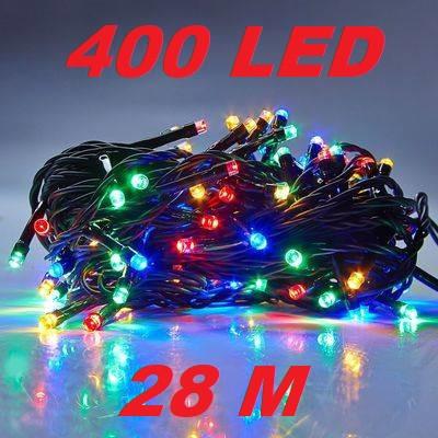 Новогодняя гирлянда нитка Xmas 400 LED ламп МУЛЬТИКОЛОР (черный провод, 28 метров)