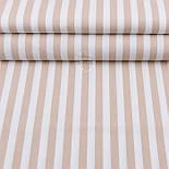 """Лоскут ткани""""Полоска 14 мм"""" бежевая на белом (№1950), размер 30*105 см, фото 2"""
