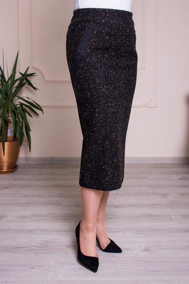 картинка женская утепленная юбка черного цвета