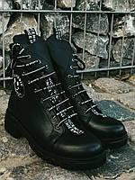 Ботинки Полусапоги  демисезонные  из натуральной кожи. Черные 36