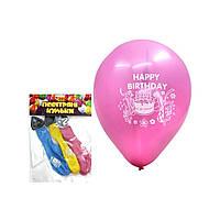 Повітряні кульки ТІКІ  5 штук  Happy Birthday з лампочкою  TK-53453