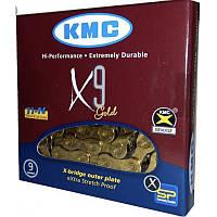"""Велосипедная цепь X9 KMC (9 скоростей, размер 1/2""""x11/128"""" 116 звеньев)"""
