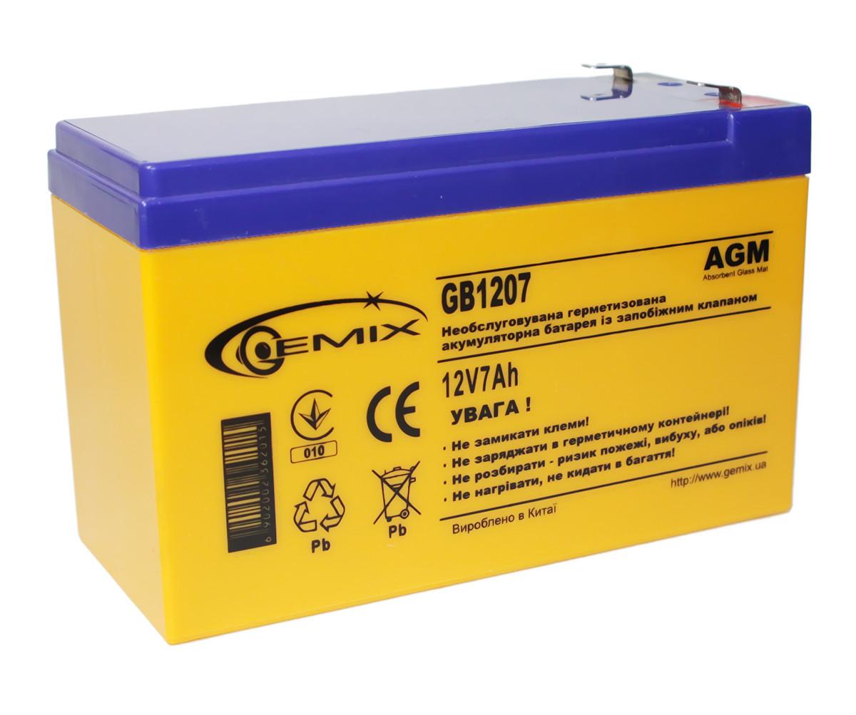 Аккумулятор для ИБП 12В 7Ач Gemix GB1207 151х65х94 мм