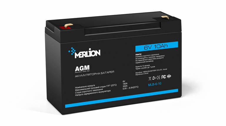 Аккумулятор для ИБП 6В 10Ач Merlion / GP610F2 / ШхДхВ 50х151х100 / Q10, фото 2