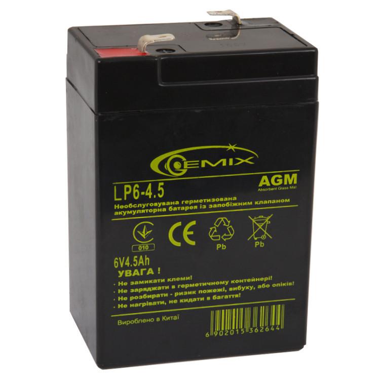 Аккумулятор для ИБП 6В 4.5Ач Gemix / LP6-4.5 /  ШxДxВ 70x46x100