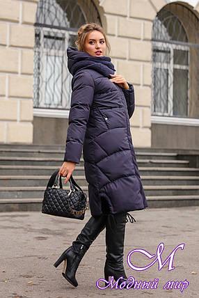 Женский длинный пуховик зима 2019 (р. 42-56) арт. Невада темно-синий, фото 2