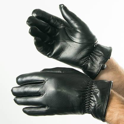 Оптом мужские  зимние перчатки из экокожи черный  № 19-1-59/2, фото 2