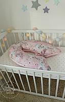 Подушка для вагітних 3 в 1 в рожевих тонах  із плюшу 2080