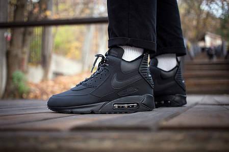 """Зимние кроссовки Nike Air Max 90 Sneakerboot """"Black"""" (Черные), фото 2"""