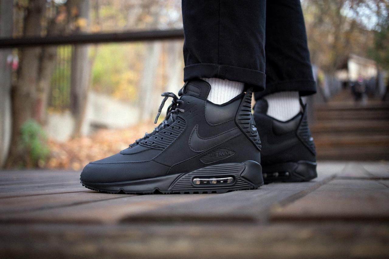 """Зимние кроссовки Nike Air Max 90 Sneakerboot """"Black"""" (Черные)"""