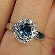 Серебряное кольцо с лондон топазом - Кольцо с топазом серебро, фото 6