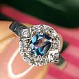 Серебряное кольцо с лондон топазом - Кольцо с топазом серебро, фото 3