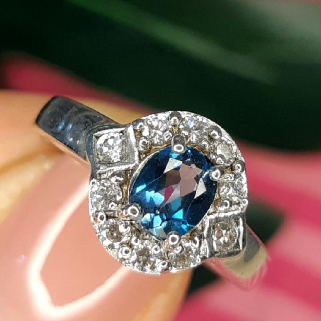 Серебряное кольцо с лондон топазом - Кольцо с топазом серебро