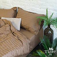 """Евро комплект постельного белья из сатина в шоколадном цвете """"Stripe 75"""""""