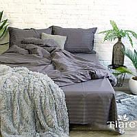 """Темно серый евро комплект постельного белья из сатина """"Stripe 76"""""""
