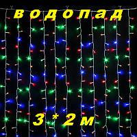 Уличная Новогодняя гирлянда водопад разноцветного свечения Xmas Мультиколор 480  LED (3*2 метра), фото 1