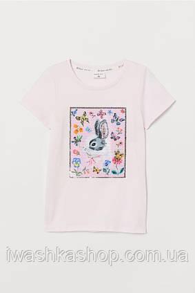 Розовая футболка с пайетками - перевертышами на девочек 4 - 6 лет, р. 110 - 116, H&M