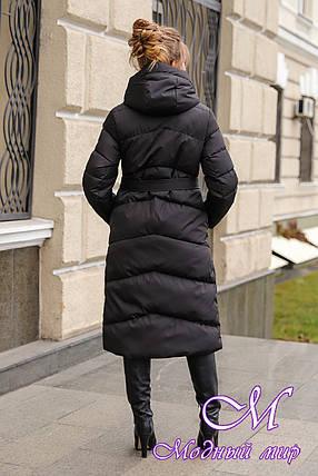 Теплый длинный пуховик зимний (р. 42-56) арт. Магнолия черный, фото 2