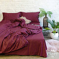 """Бордовое полуторное постельное бельё из сатина """"Stripe 79"""""""