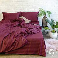"""Бордовое постельное двуспальное бельё из сатина """"Stripe 79"""""""