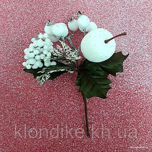 """Веточка """"Яблоко с ягодками"""", пластик, 18 мм, Цвет: Зеленый, белый с блеском"""
