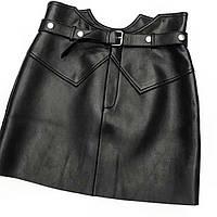 Женская короткая  юбка экокожа