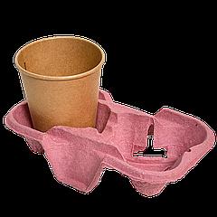 Подставка для стакана 2-секции, 1шт (1уп/150шт) Розовый