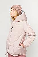Женская короткая двухсторонняя куртка пудра/серебро, фото 1