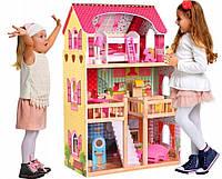 Кукольный домик с мебелью, кукольный домик для барби.Детский кукольный домик дереянный с мебелью+2кукл