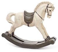 """Новогодняя игрушка фигурка """"Лошадка-качалка"""", цвет белый с серым, размер 40 см"""