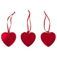 IKEA, ВИНТЕРФЕСТ, Подвесной декор, стекло, красное сердце, 6,5 см, (804.309.06)