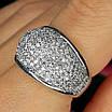 Серебряное кольцо с фианитами усыпка - Женское серебряное кольцо усыпанное камнями, фото 2